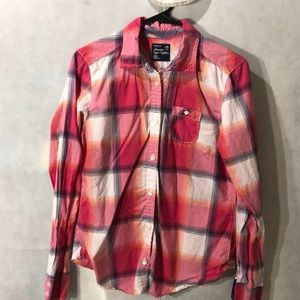 5 for $25-pink plaid button down shirt